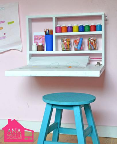 Storage Furniture - A DIY Flip Down Art Desk - kid room, art desk