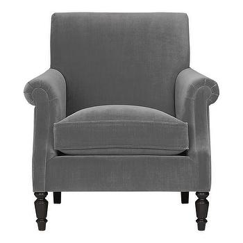 Seating - Suffolk Chair in Chairs | Crate&Barrel - gray, velvet, chair