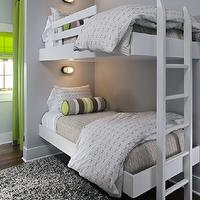 Summer House Style - boy's rooms - white, floating, twin, bunk beds, white, ladder, gray, wool, rug, gray, bedding, green, gray, black, green, lumbar, pillows, gray, walls, green, drapes, bunk bed ladders, removable bunk bed ladders, white bunk bed ladders, bunk beds, built in bunk beds, boys bunk beds, boys built in bunk beds, boys beds, floating bunk beds, floating built in bunk beds,