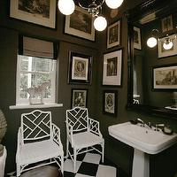 John Jacob Interiors - bathrooms - gray, walls, white, faux bamboo, chippendale, chairs, white, pedestal, sink, glossy, black, lacquer, baroque, mirror, white, black, checkered, tiles, floor, linen, roman shade, black trim, black, white, photo gallery, chinese chippendale chair, chippendale chair, white chippendale chair, white chinese chippendale chair,