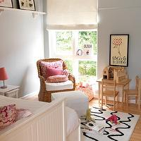 Muha Interiors - girl's rooms - blue, gray, walls, wicker, chair, pink, damask, pillows, white & black, rug, white, shelf, white, trundle, bed, blue grey paint, blue grey paint color, blue grey walls, blue gray paint, blue gray walls, blue gray paint colors, blue gray room, blue grey room, blue grey room walls, blue grey room paint, blue gray room walls, blue gray room paint,