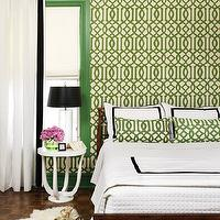 House &amp; Home - bedrooms - parquet, wood floors, white, accent table, nightstand, Ikea, pelt, white, hotel bedding, black, stitching, basketweave, blanket, green, painted trim, white, sheers, black, ribbon, trim, glass, , cylinder, lamp, black, lamp shade, imperial trellis wallpaper, kelly wearstler wallpaper, kelly wearstler imperial trellis wallpaper, treillage wallpaper, imperial trellis treillage wallpaper, kelly wearstler imperial trellis treillage wallpaper, kelly wearstler treillage wallpaper, treillage imperial trellis wallpaper, Kelly Wearstler Trelliage/Ivory Imperial Trellis Fabric, Kelly Wearstler Trelliage/Ivory Wallpaper,