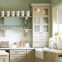 Martha Stewart - kitchens - Martha Stewart, Ox Hill, kitchen cabinets, flat panels, double batten, doors, gray, shelves, gray, corbels, blue, walls, marble, countertops, subway tiles, backsplash, beadboard, gray, ceiling, martha stewart kitchen, martha stewart kitchen cabinets, martha stewart cabinets, seaslat corian, seasalt corian countertops,