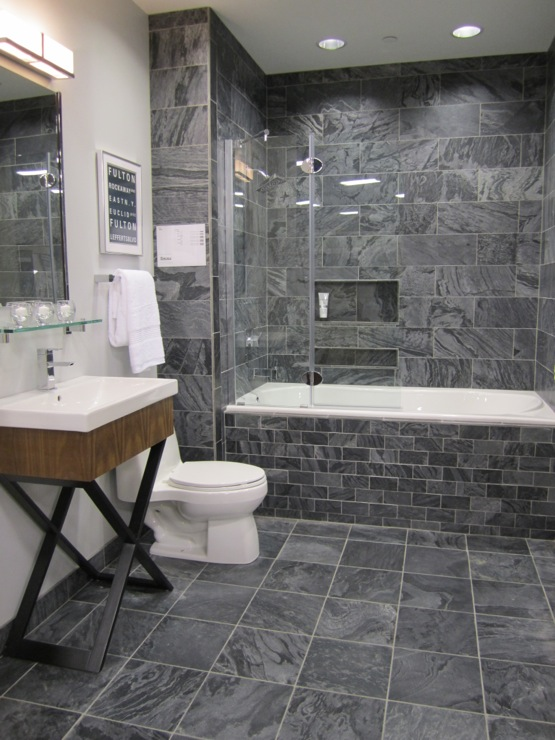Polished Slate Tiles - Contemporary - bathroom - Sherwin Williams