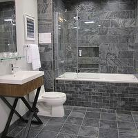 The Tile Shop - bathrooms - Tile, from, the, Tile, Shop,  Kirsty Froelich - Silver Grey polished slate from India, Lacava vanity