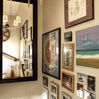 Terrat Elms Interior Design - entrances/foyers - art gallery, photo wall, staircase art wall, staircase mirror, Bryant Chandelier,  Fun foyer