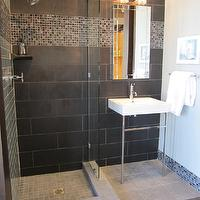 The Tile Shop - bathrooms - Tile, by, the, Tile, Shop,  Kirsty Froelich- Bathroom with black ceramic tile and glass mix
