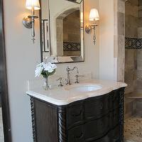 bathrooms - tile from the Tile Shop, limestone countertop, limestone bathroom countertop,  Kirsty Froelich - Ambella vanity, Driftwood limestone