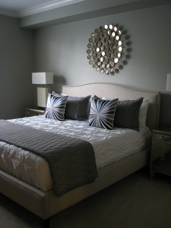 bedrooms - Martha Stewart - Bedford Gray - Crate and Barrel Colette bed, Z Gallerie Borghese nightstands, Z Gallerie Gatsby lamps, West Elm Pintuck duvet, West Elm Bullseye throw pillows, Thomas O&#039;Brien Menswear coverlet and shams, Pier 1 Circles mirror, pintuck duvet, pintuck comforter, pin tuck duvet, pin tuck comforter, white pintuck duvet, white pintuck comforter, white pin tuck duvet, white pin tuck comforter,