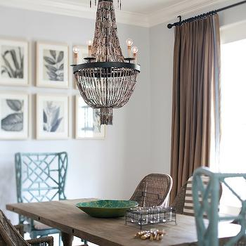 Interior Philosophy - dining rooms - beach cottage dining room, turquoise chairs, turquoise blue chairs, turquoise dining chairs, turquoise blue dining chairs, wicker dining chairs, beaded chandelier, Regina Andrew Beaded Chandelier, GuildMaster Bamboo Wing Back Chair,