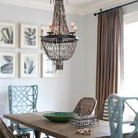 Interior Philosophy - dining rooms - blue, walls, crown molding, woven, chairs, trestle, dining table, turquoise, blue, captain, chairs, brown, drapes, Regina Andrew Beaded Chandelier, GuildMaster Bamboo Wing Back Chair,
