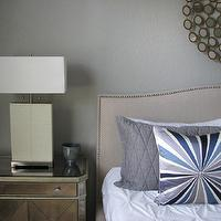 bedrooms - Martha Stewart Bedford Gray, Z Gallerie Borghese nightstand, Z Gallerie Gatsby lamp, vintage pottery bowl, Crate and Barrel Colette bed, Pier 1 Circles mirror, West Elm Pintuck duvet, West Elm Bullseye pillow, Thomas O'Brien Menswear sham,