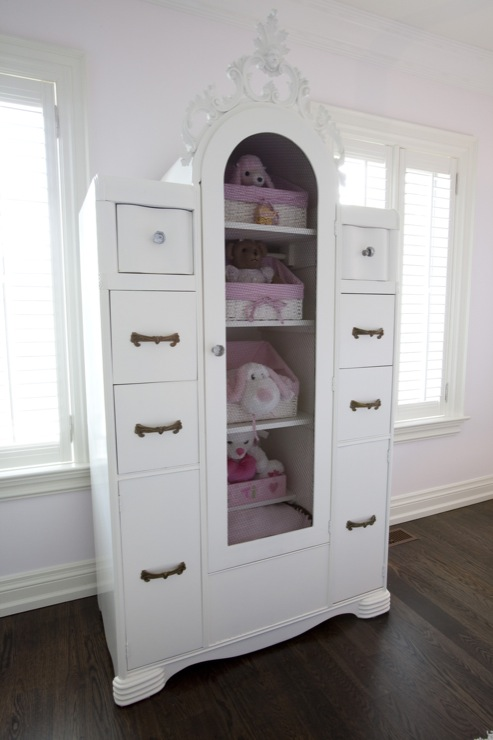 Jennifer Backstein Interiors - girl's rooms - french armoire, white french armoire,  Beautiful french armoire.