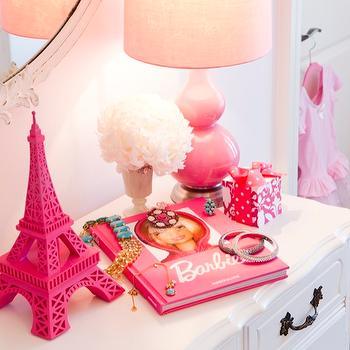 Jennifer Backstein Interiors - girl's rooms - white commode, french oval mirror, pink glossy lamp, pink gourd lamp, pink double gourd lamp, pink eifflel tower,