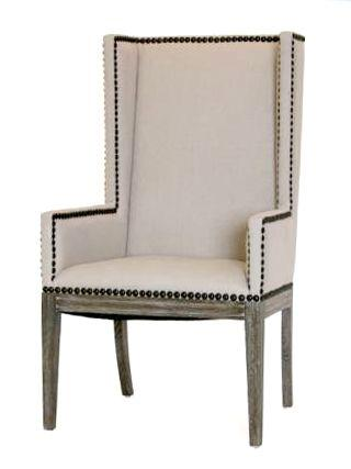 Seating - Linen Nailhead Dining Chair with Arms Natural Linen Upholstery and Wood Home Living Room Dining Room - linen, nailhead, dining chair