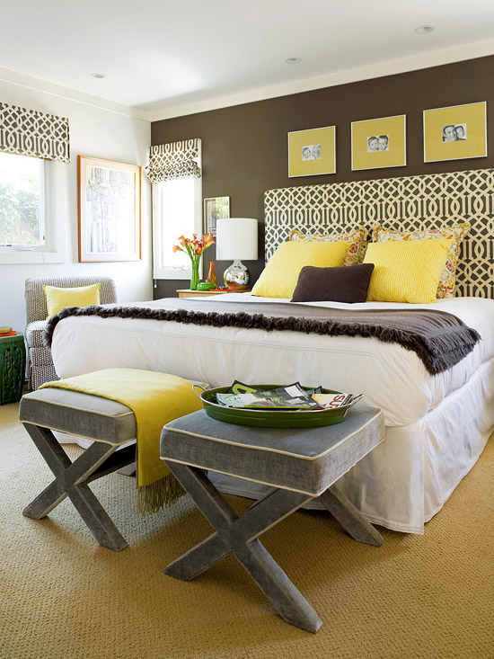 Suzie: BHG  Fun brown, yellow & gray bedroom design with Kelly Wearstler parchment midnight ...