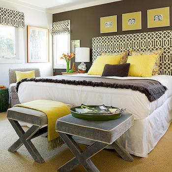 Fun brown, yellow & gray bedroom design with Kelly Wearstler parchment midnight ...