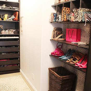 Made by Girl - closets - walk in closet, walk in closet shelves, walk in closet shelving, built-in shelves, built-in shelving, built in closet shelves, built in closet shelving, closet system, walk in closet system, leopard rug,