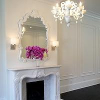 Melissa Miranda Interior Design - living rooms - moldings on wall, mirror above fireplace, mirrors above fireplace, mirror over fireplace, mirrors over fireplace, fireplace mirror, fireplace mirrors, french fireplace, wall moldings,