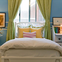 bedrooms - Valspar - Forget Me Not - Typhanie Peterson, stripes, blue, green, yellow, pink,  Vintage Bedroom