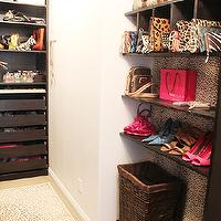 Made by Girl - closets - espresso, shoe shelves, bag, purse, cubbies, cheetah, wallpaper, cheetah, runner, accessories, drawers, walk in closet, walk in closet shelves, walk in closet shelving, built-in shelves, built-in shelving, built in closet shelves, built in closet shelving, closet system, walk in closet system,