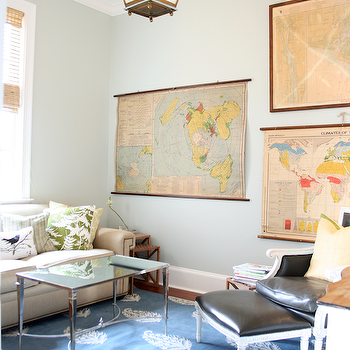 Rethink Design Studio - living rooms - vintage world maps, french square leg coffee table, nickel coffee table, mirrored top coffee table, keri rug, madeline weinrib rugs, blue gray walls, Madeline Weinrib Atelier Indigo Keri Rug, French Square Leg Nickel and Mirror Coffee Table,