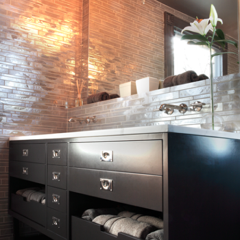 Rethink Design Studio - bathrooms: iridescent tiles, iridescent tile bathroom, iridescent backsplash, iridescent tile backsplash, black vanity, black double vanity, ebony vanity, ebony bathroom vanity, black bathroom vanity, wall mounted faucets,