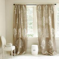 Window Treatments - Burlap Crewel Damask Panel - Ballard Designs - burlap, crewel, damask, window panels, drapes