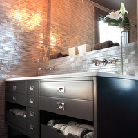 Rethink Design Studio - bathrooms - gray, painted, ceiling, ebony, double bathroom vanity, marble, counter tops, double sinks, gray, taupe, linear, glass tiles, backsplash, chocolate, brown, towels, polished nickel, wall mount, faucets,