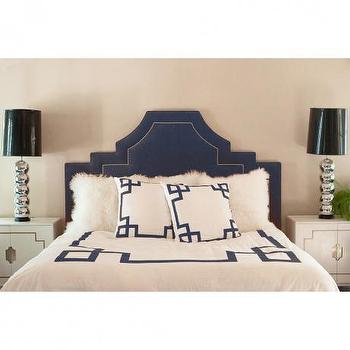 Bedding - Navy Key Duvet Cover - navy blue, greek key, duvet