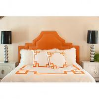 Bedding - Orange Key Duvet Cover - orange, greek key, duvet