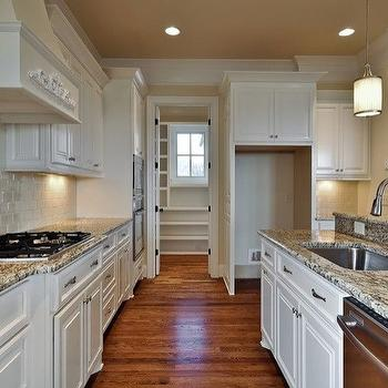kitchens - white cabinets, granite countertops, white cabinets with granite countertops,  Kitchen with island