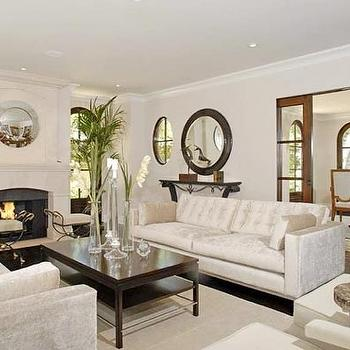 living rooms - white sofas, sofas facing each other, face to face sofas, white velvet sofas, white tufted sofas,  Kim K Great Living Room