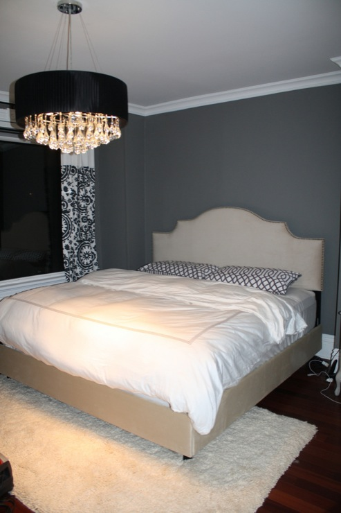 Charcoal Gray Paint Color Contemporary Bedroom Benjamin Moore Asphalt
