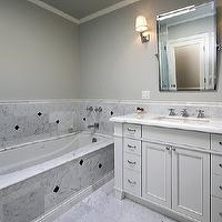 bathrooms - carrara marble, custom vanity, Kohler, carrara marble tiles, carrara marble floor, carrara marble tiled floor,  RBR Developement