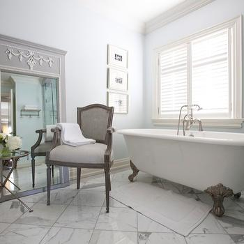 Jennifer Backstein Interiors - bathrooms - floor mirror, french floor mirror, gray floor mirror, gray french floor mirror, bathroom floor mirror, floor mirror in bathroom, bathroom chair, clawfoot tub, marble floor, marble bathroom floor, bathroom table, tripod table, tripod accent table, Arteriors Ashland Metal Accent Table,