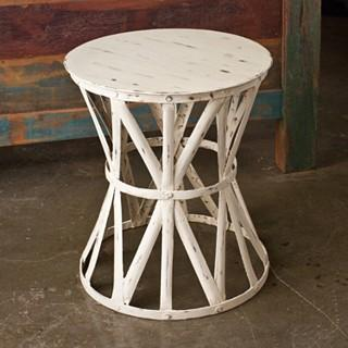 Tables - Steel Royalty Antique White Stool (India) | Overstock.com - antique, white, stool