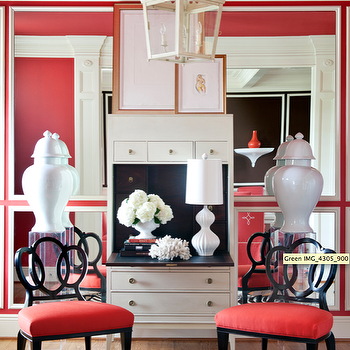 Tobi Fairley - living rooms - chairs, carriage light, red and black palette, red and black room, white ginger jars,  Living Room
