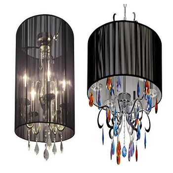 Lighting - {Clarita Collection Chandelier by Artcraft, Shimmer Chandelier by Vienna Full Spectrum} - black chandelier