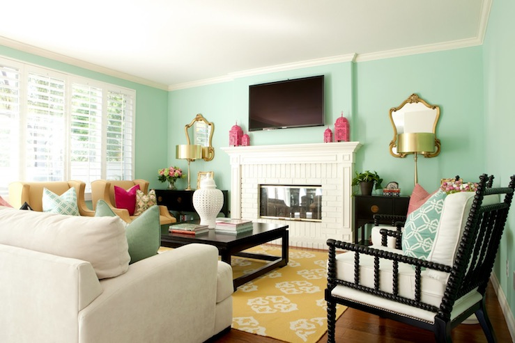 Green Blue Paint Colors Contemporary Living Room