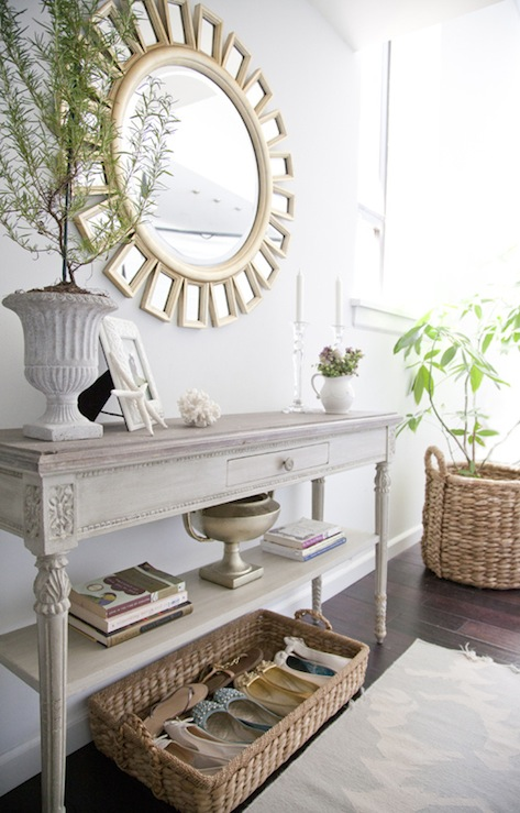 The Elegant Abode - entrances/foyers - Z Gallerie Devon Mirror, devon mirror, french console, french console table, gray console table,  Lovely,