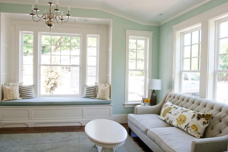 Built In Window Seat, Transitional, living room, Benjamin Moore Palladian Blue, Caitlin Creer Interiors