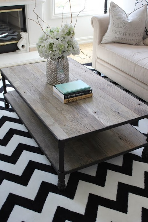 Industrial Coffee Table Contemporary Living Room
