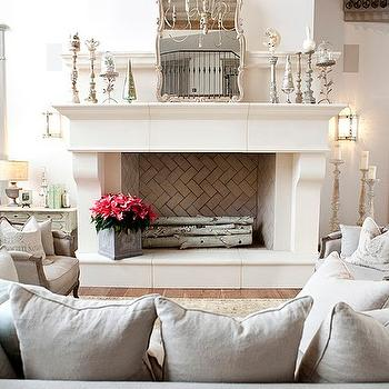 Decor de Provence - living rooms: fireplace mirror, fireplace candle holders, how to style a fireplace, huge fireplace, oversized fireplace,