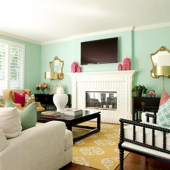 Green Blue Paint Colors, Contemporary, living room, Glidden Sea Glass, Belmont Design Group