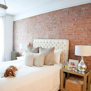 The Elegant Abode - bedrooms - exposed brick wall, velvet tufted headboard, white velvet headboard, white velvet headboard, white tufted headboard, white velvet tufted headboard, nailhead table, nailhead nightstand,