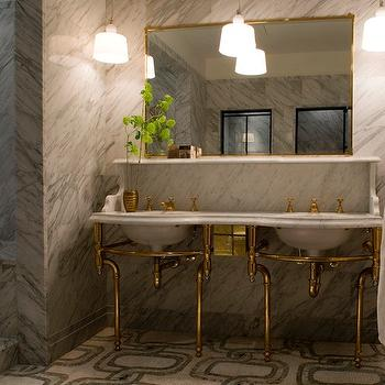 The Greenwich Hotel - bathrooms - mosaic tile, mosaic tile floor, mosaic tiled bathroom floor, mosaic tile bathroom, brass washstand, brass double washstand, antique brass washstand, antique brass double washstand, mosaic tile, mosaic tile floor, mosaic tiled bathroom floor, mosaic tile bathroom,