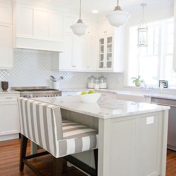 Striped Island Bench, Transitional, kitchen, Benjamin Moore Dune White, Caitlin Creer Interiors