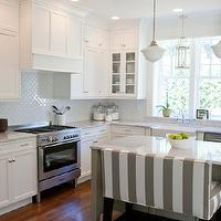 Caitlin Creer Interiors - kitchens - white, gray, striped, kitchen island, bench, marble, countertops, gray, kitchen island, farmhouse sink, Restoration Hardware Schoolhouse Pendant, Overstock Moorish SomerTile White Porcelain Mosaic Tiles, Martha Stewart Ocean Floor, English Hall Lantern,
