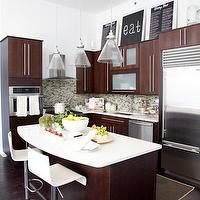 The Elegant Abode - kitchens - frosted glass, espresso, stained, contemporary, kitchen cabinets, kitchen island, white, quartz, countertops, green, glass tiles, backsplash, white, modern, swivel, bar stools, tapered, glass, lights, pendants,